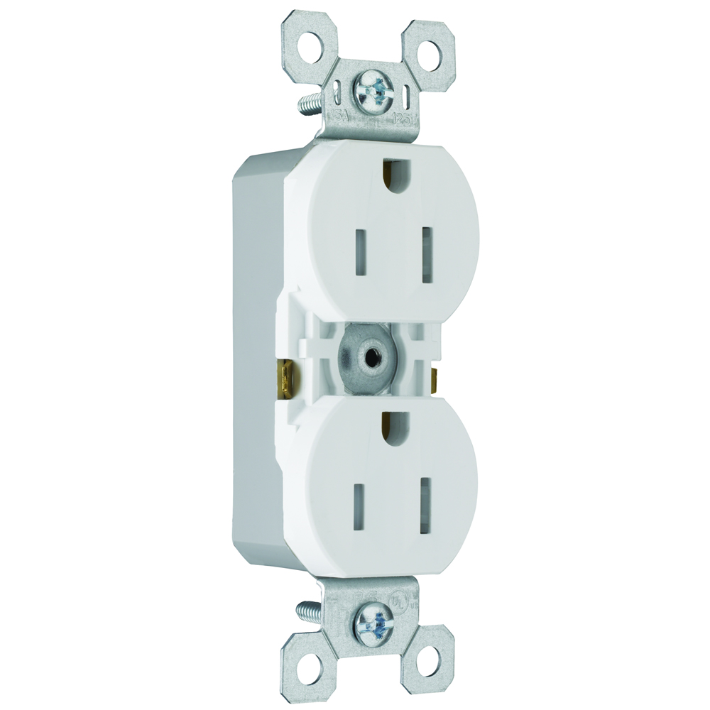 PS 880-TRW Tamper-Resistant DuplexReceptacle, Pushwire Only, 15 Amp125 Volt, White