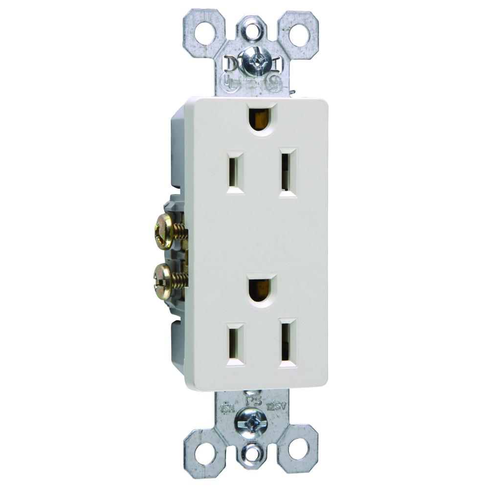 Pass & Seymour 885-LA 15 Amp 125 VAC 2-Pole 3-Wire NEMA 5-15R Light Almond Thermoplastic Duplex Decorator Receptacle