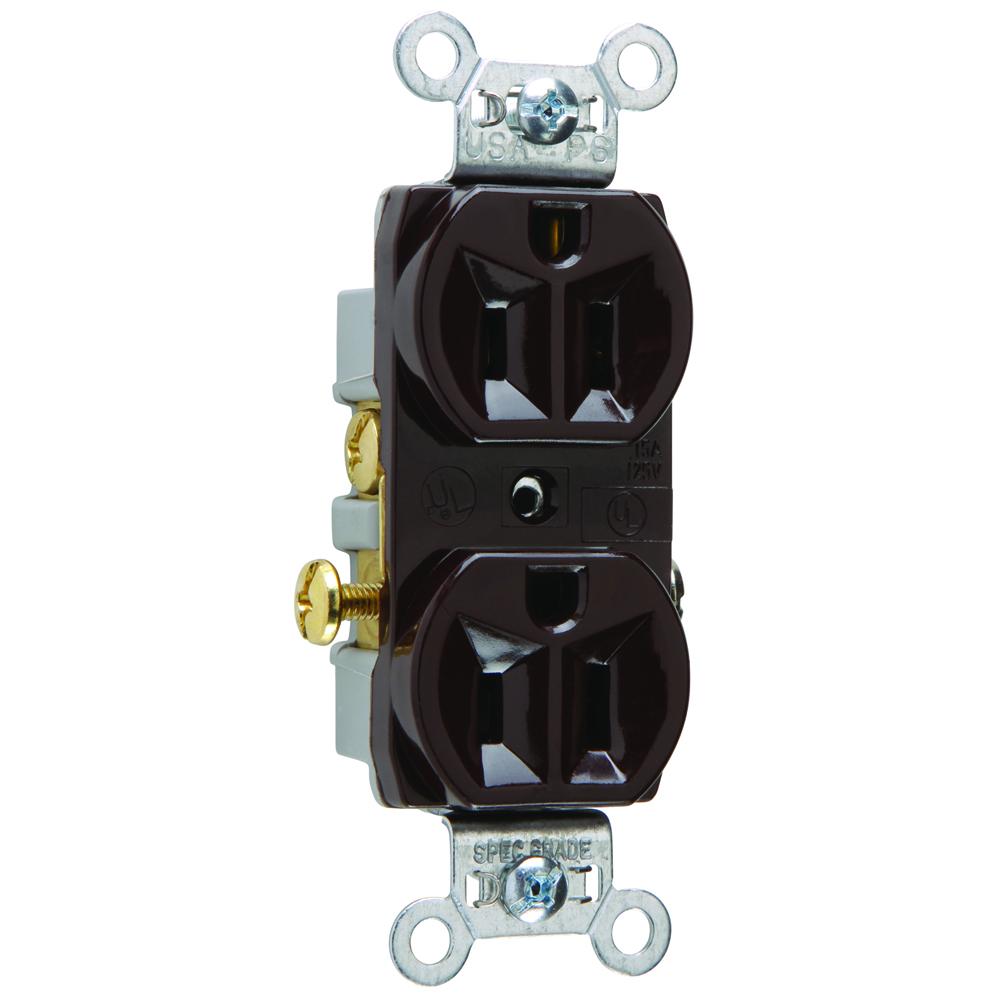 Pass & Seymour CR15 15 Amp 125 VAC 2-Pole 3-Wire NEMA 5-15R Brown Nylon Face Corrosion-Resistant Duplex Receptacle