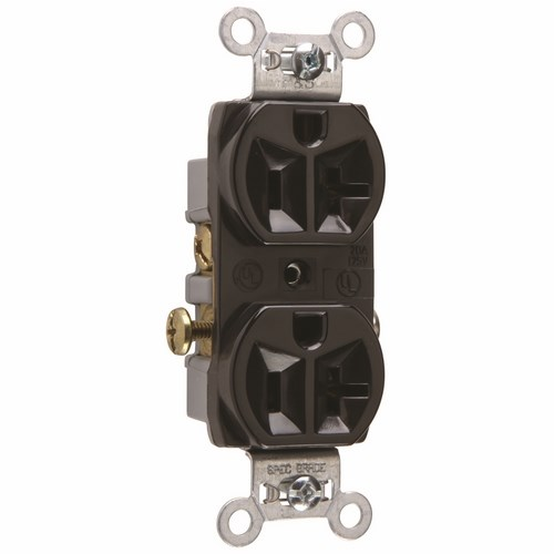 Pass & Seymour CR20-BK Commercial Spec Grade Duplex Receptacle Side Wire 20Amp 125Volt Black