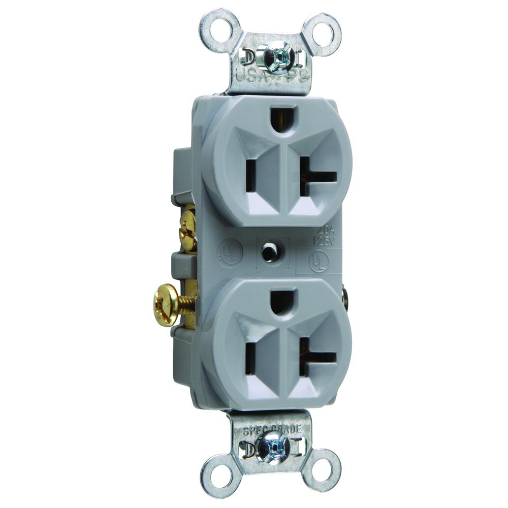 Pass & Seymour CR20-GRY 20 Amp 125 VAC 2-Pole 3-Wire NEMA 5-20R Gray Nylon Face Corrosion-Resistant Duplex Receptacle
