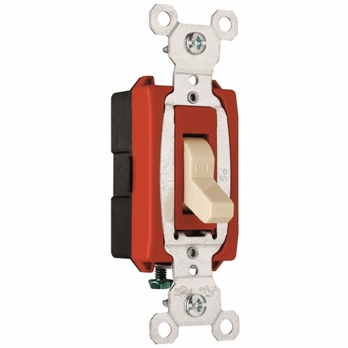 Pass & Seymour CSB20AC1-I Construction 1Pole Switch, Back & Side Wire, 20Amp 120/277Volt, Ivory