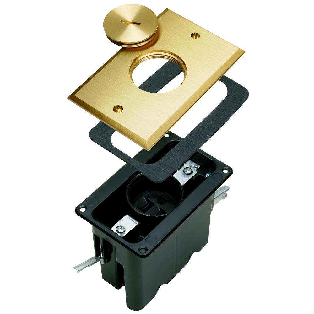 PS FB1-TR-SR-B Tamper-Resistant OneGang Floor Box Assembly. Singlethreaded screw plug. Includes 15amp, 120 volts tamper-resistantsingle receptacle. Brass.