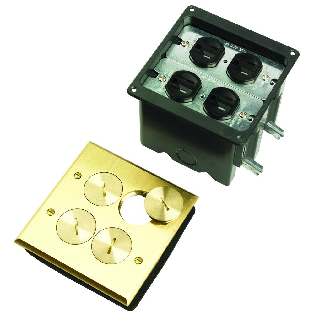 FLOOR BOX 2G 2 DUPLEX RECPT BRASS
