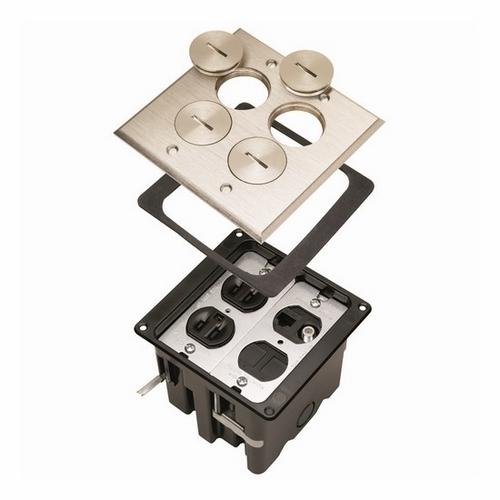 FLOOR BOX 2G DUPLEX RECP LV NICKEL