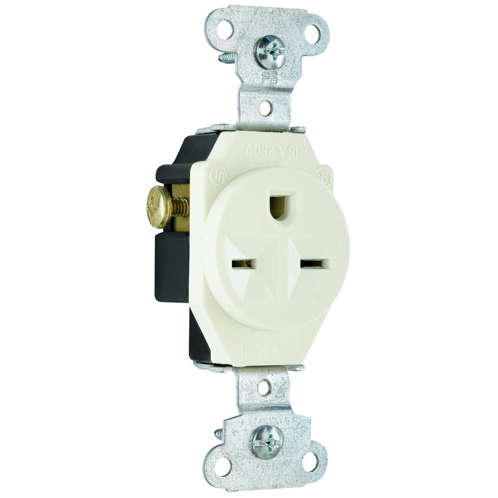 P&S 5651-LA RECP LA SGL 15A 250V LIGHT ALMOND SINGLE RECEPTACLE