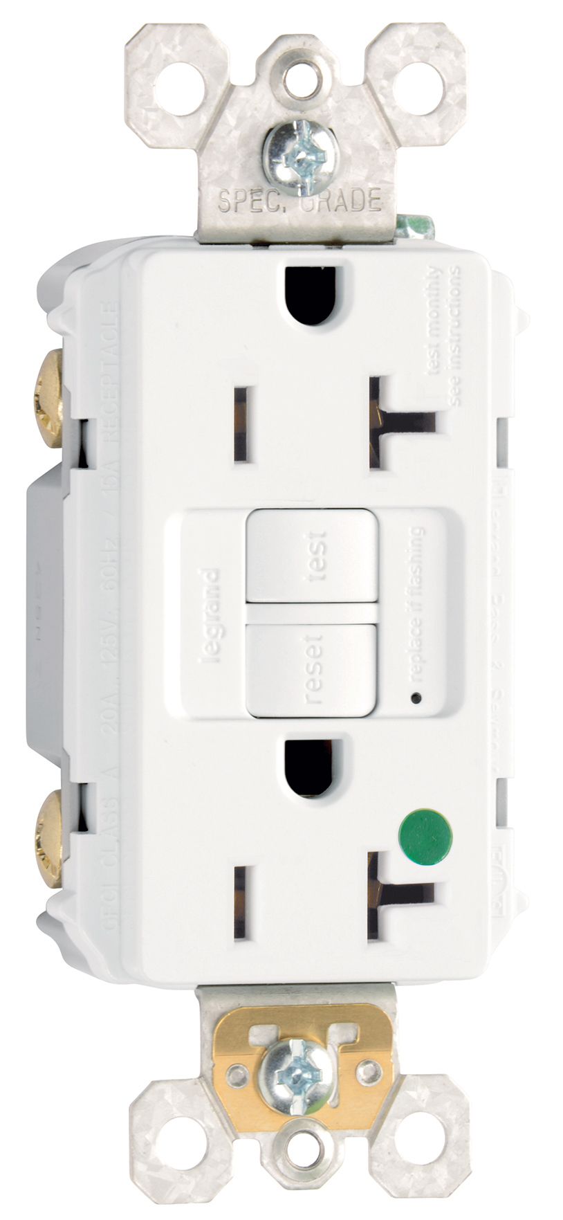 Legrand-Pass & Seymour,2097-HGW,Pass & Seymour® 2097HG Self-Test Duplex GFCI Receptacle With Matching TP Wall Plate, 125 VAC, 20 A, 2 Poles, 3 Wires