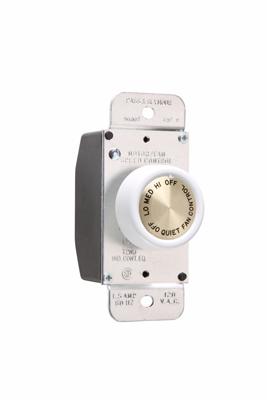 P&S 94003-W FAN CONTROL WHT 1.5A 3-SPEED 120V WHITE ROTARY DEHUMMER