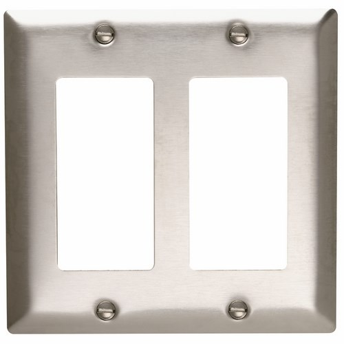 P&S SS262 SMOOTH 302SS 2G 2 DECORATOR DECORA PLATE SS