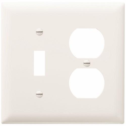 P&S TP18-W NYLON WHT 2G 1 TOGGLE 1 DUPLEX WHITE PLATE