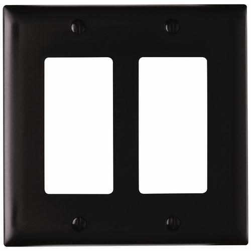 P&S TP262-BK NYLON BLK 2G 2 DECORA BLACK RECP PLATE RECEPTACLE