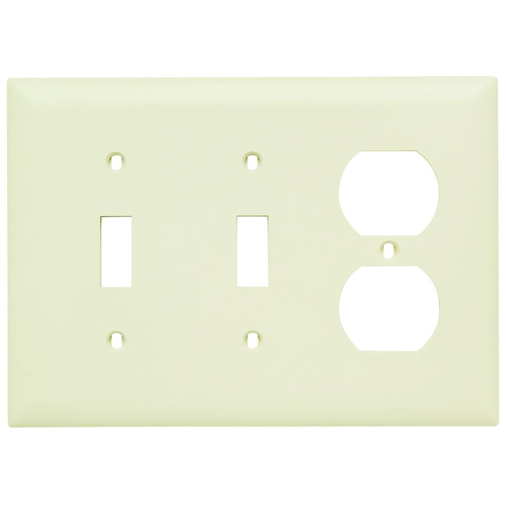 P&S TP28-LA NYLON 3G PLATE 2 TOGGLE 1 DUPLEX RECEPTACLE LIGHT ALMOND LA