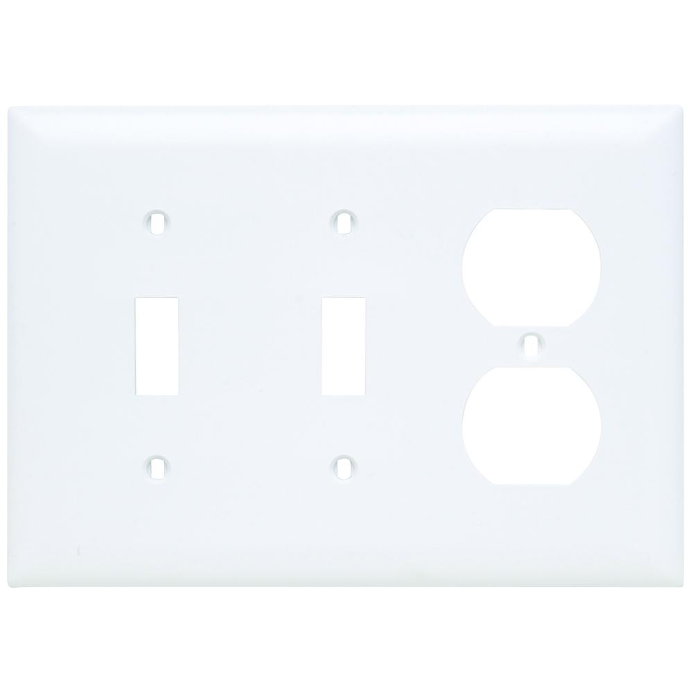 P&S TP28-W NYLON 3G PLATE 2 TOGGLE 1 DUPLEX RECEPTACLE LIGHT WHITE WHT