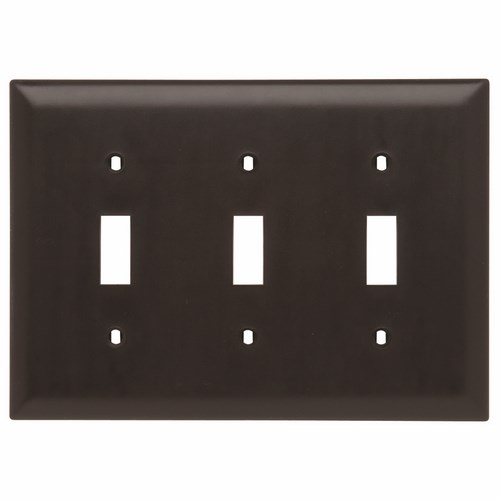 P&S TP3 NYLON BRN 3G 3 TOGGLE BROWN SWITCH PLATE BR