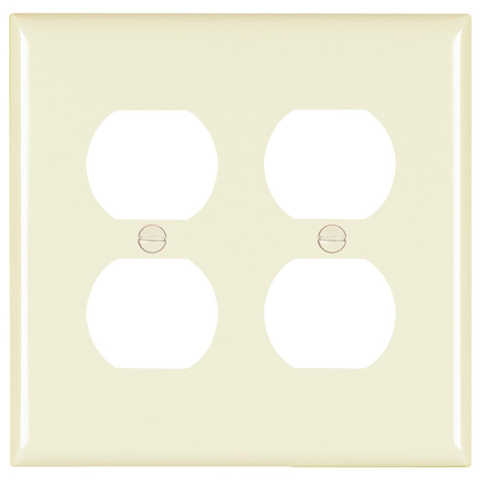 P&S TP82-LA NYLON LA 2G 2 DUPLEX RECP LIGHT ALMOND RECEPTACLE PLATE