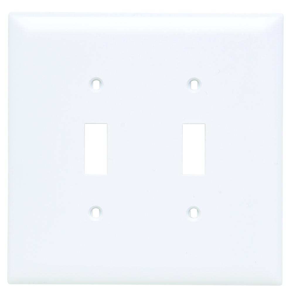 P&S TPJ2-W NYLON JUMBO WHT 2G 2 TOGGLE WHITE PLATE