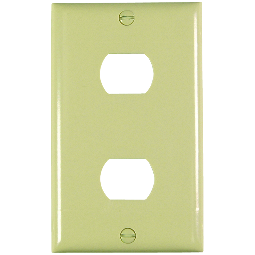 Pass & Seymour K2-I Plate Plastic Despard Horizontal 2Device 1Gang w/ Line, Ivory