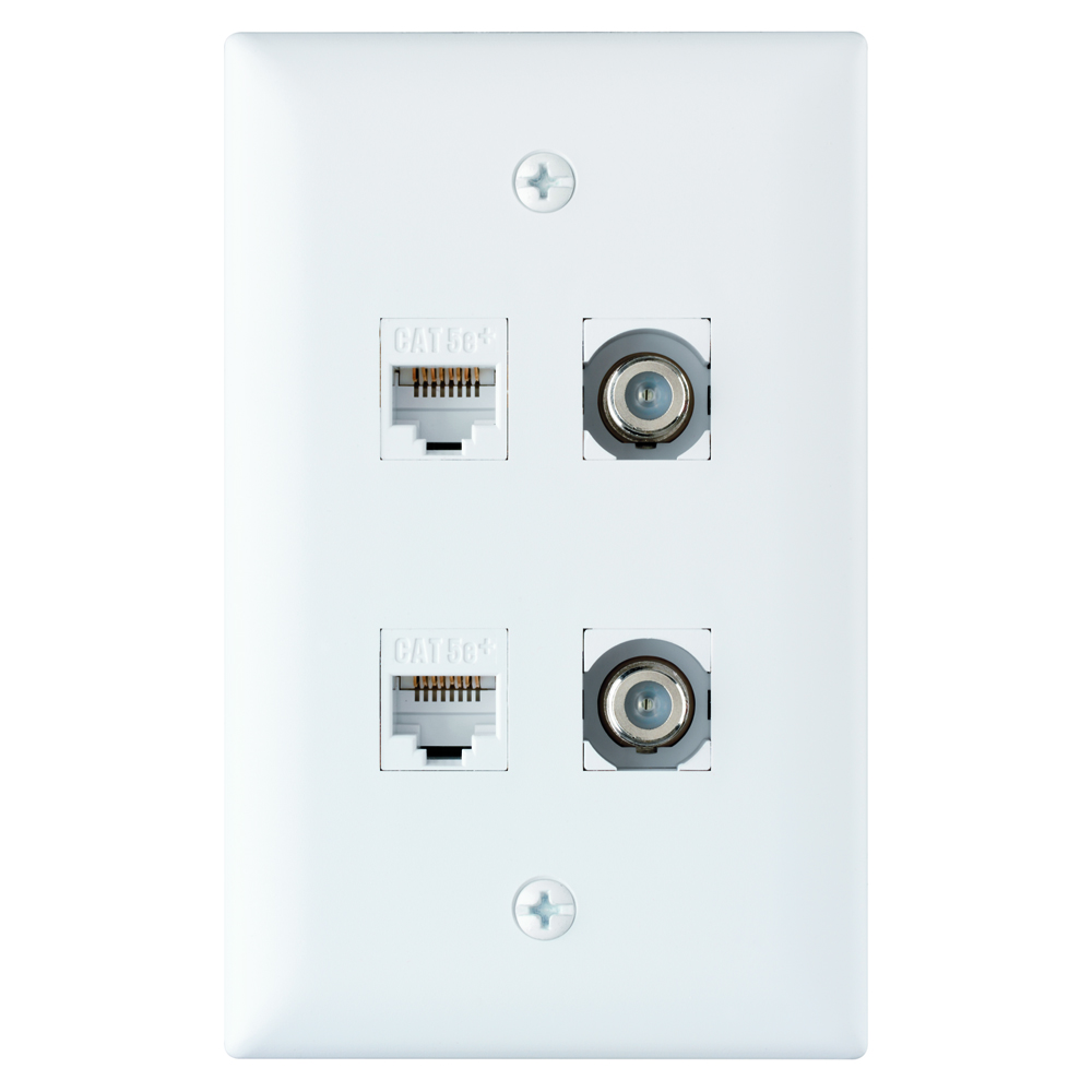 ONQ KTPD4W-WH 4-PORT KEYSTONE WALLPLATE WHITE