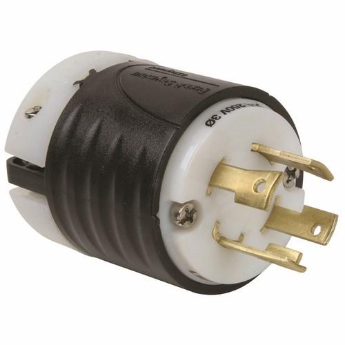Pass & Seymour L1530-P 30 Amp 250 VAC 3-Phase 3-Pole 4-Wire NEMA L15-30P Black and White Nylon Straight Locking Plug