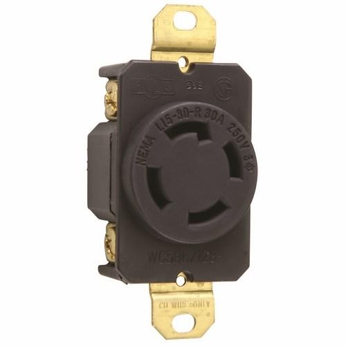 Pass & Seymour L1530-R 30 Amp 250 VAC 3-Phase 3-Pole 4-Wire NEMA L15-30R Impact-Resistant Nylon Locking Single Receptacle
