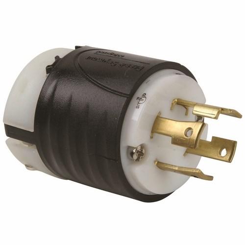 Pass & Seymour L1630-P 30 Amp 480 VAC 3-Phase 3-Pole 4-Wire NEMA L16-30P Black and White Nylon Straight Locking Plug