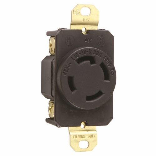 Pass & Seymour L1630-R 30 Amp 480 VAC 3-Phase 3-Pole 4-Wire NEMA L16-30R Impact Resistant Nylon Locking Single Receptacle