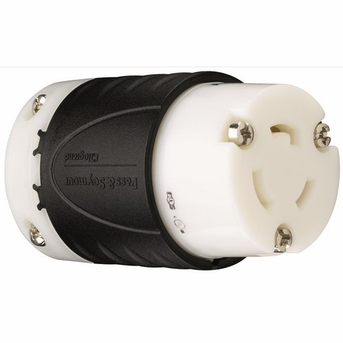 Pass & Seymour L520-C 20 Amp 125 VAC 2-Pole 3-Wire L5-20R Black and White Nylon Locking Connector