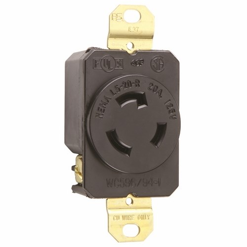 Pass & Seymour L520-R Turnlok® Single Receptacle, 3Wire 20Amp 125V