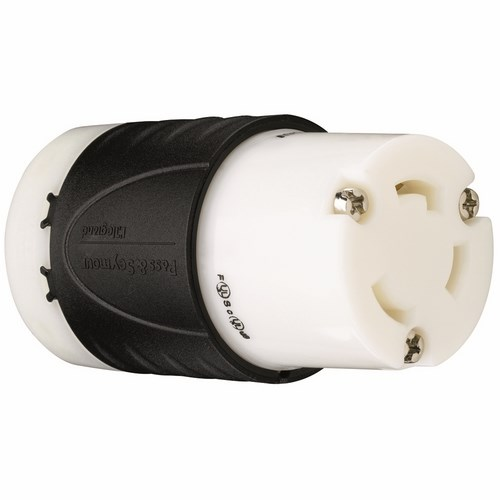 Pass & Seymour L530-C 30 Amp 125 VAC 2-Pole 3-Wire L5-30R Black and White Nylon Locking Connector