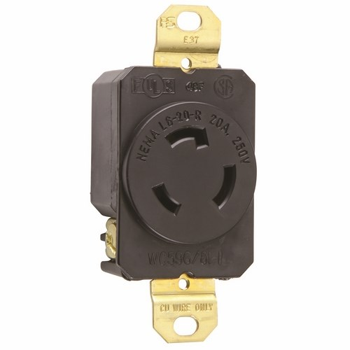 Pass & Seymour L620-R Turnlok® Single Receptacle, 3Wire 20Amp 250V