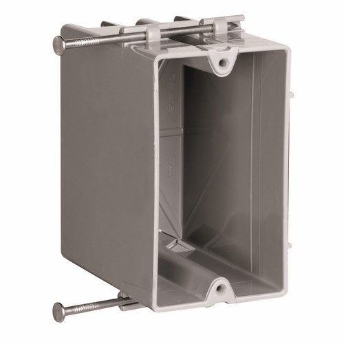 Pass & Seymour P1-22-R Single Gang, Deep Switch & Outlet Box w/ Captive Mounting Nails, Two Quick/Click Entries