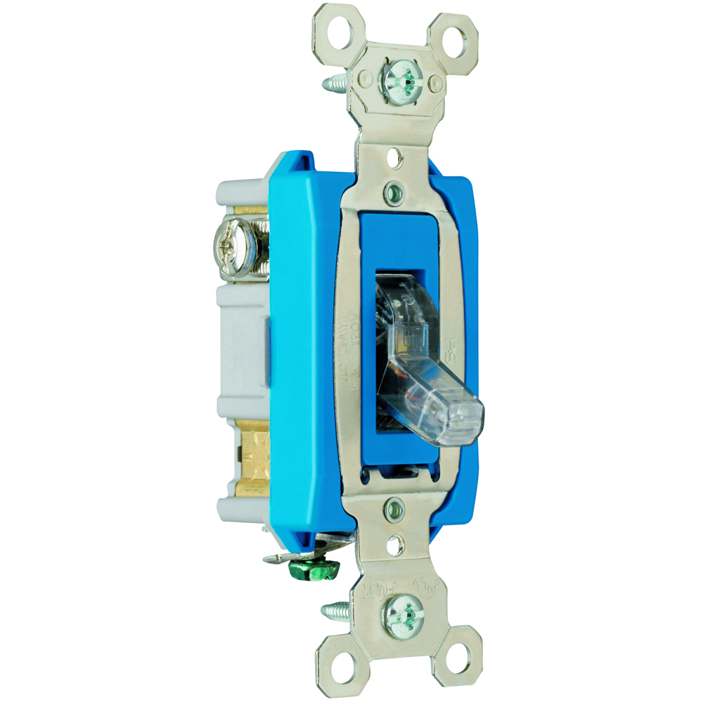 Pass & Seymour PS15AC1-CPL 1pole Pilot Lighted Switch, Back & Side Wire, 15A 120V - Clear