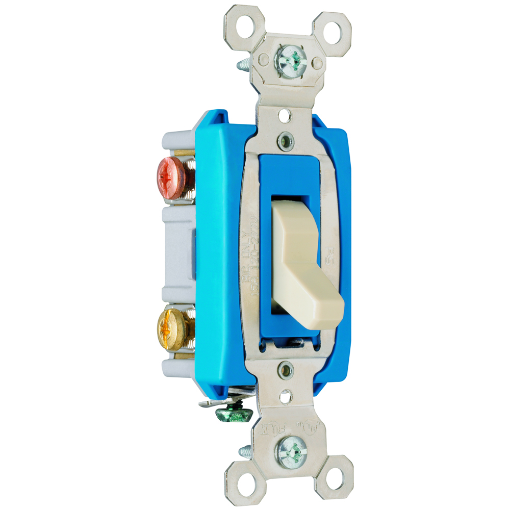 Pass & Seymour PS15AC3-I 3way Toggle Switch, Back & Side Wire, 15A 120/277V - Ivory
