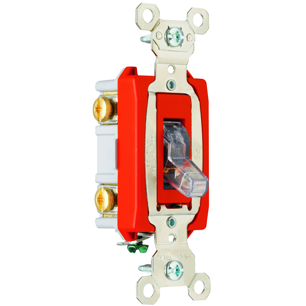 Pass & Seymour PS20AC2-CPL 2pole Pilot Lighted Switch, Back & Side Wire, 20A 120/277V - Clear