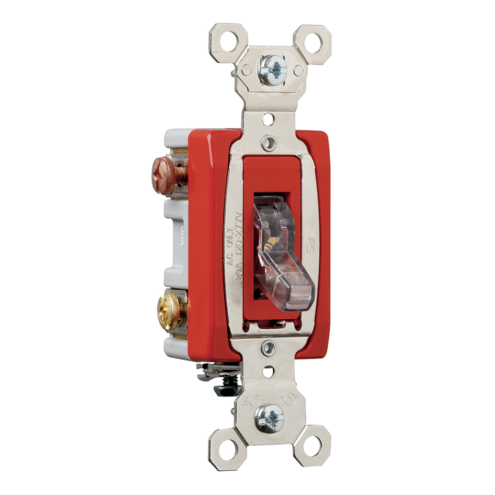 PS PS20AC3-CSL 3way Lighted Switch,Back and, Side Wire, 20amp120/277volt, Clear