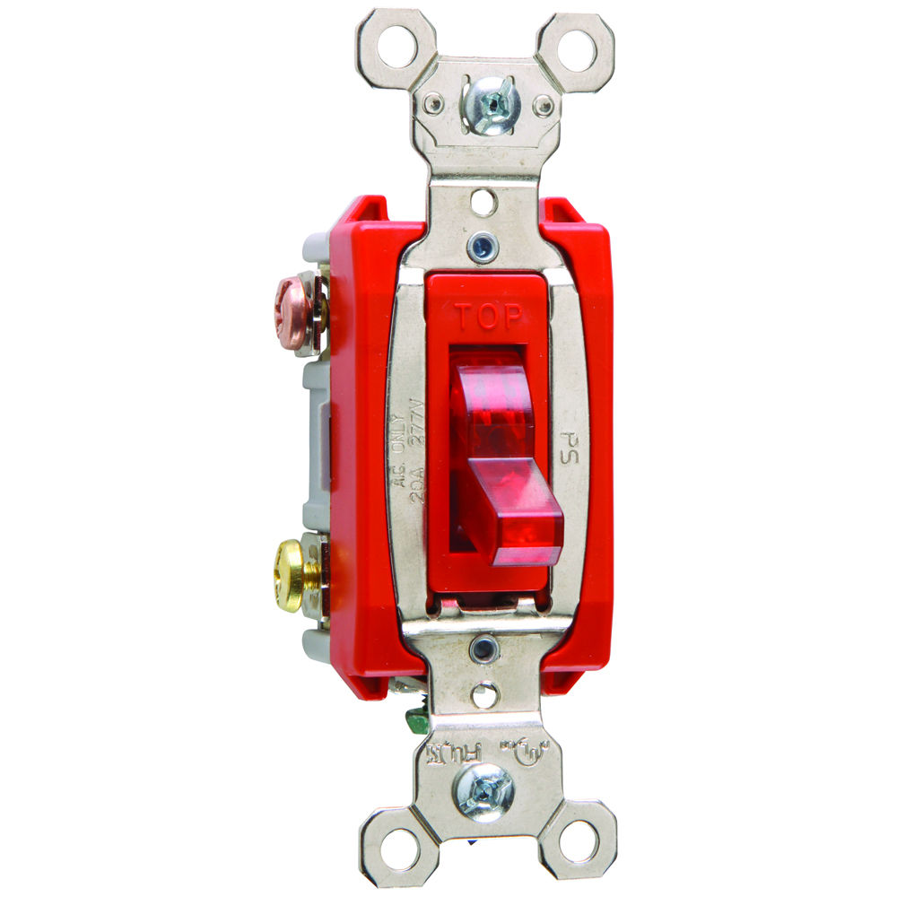 Pass & Seymour PS20AC3-RPL7 3way Pilot Lighted Switch, Back & Side Wire, 20A 277V - Red