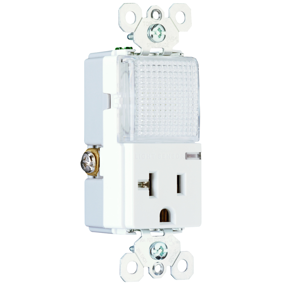 PS PS8-HWLW Spec Grade DecoratorCombination Hallway Light and,Single Receptacle Back and, SideWire 20amp 120/125VAC White