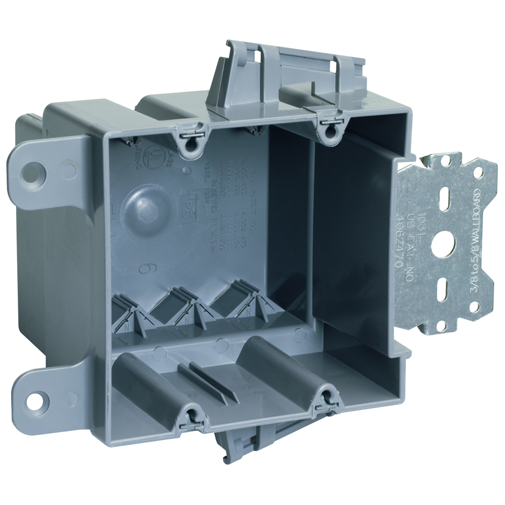 Pass & Seymour S2-35-S50AC Double Gang, Wood & Steel Stud Bracket Box w/ Quick/Click, 3/8 Offset, for Use With 3/8 to 5/8 Wallboard
