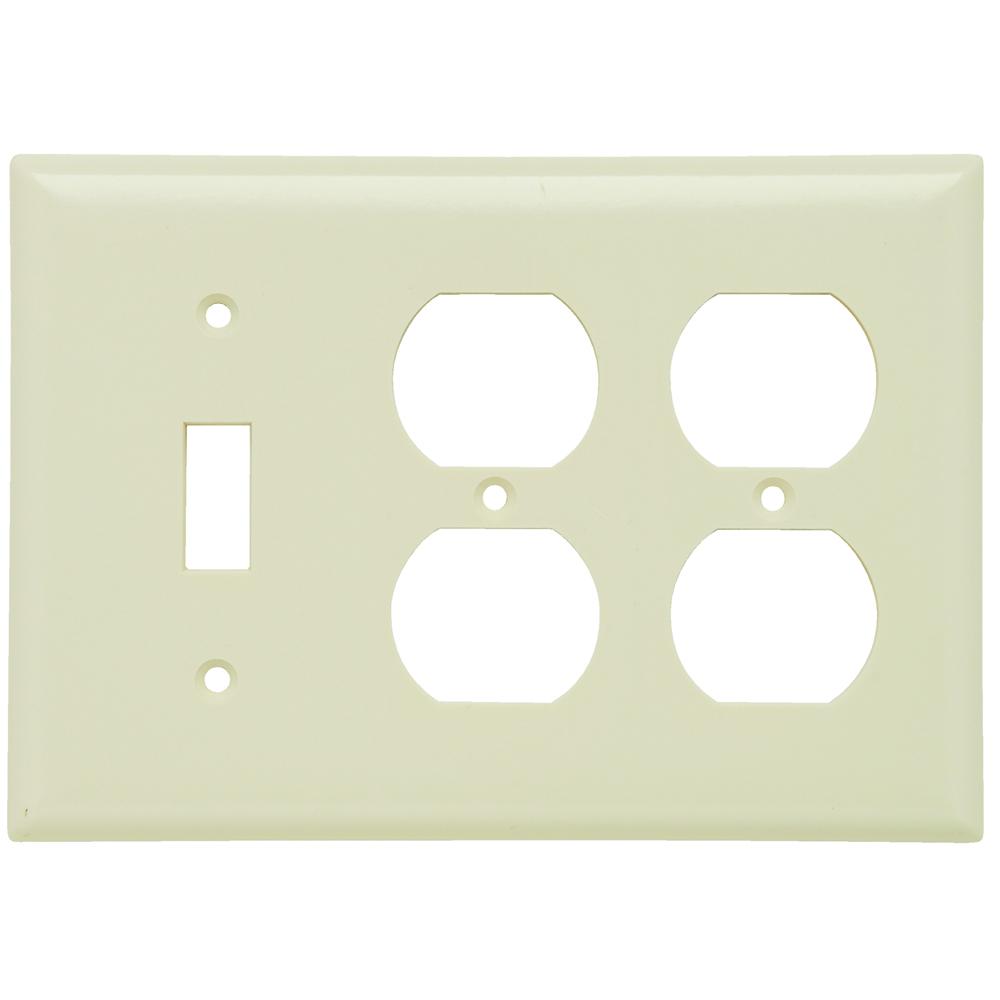 Pass & Seymour SP182-LA 3Gang Wall Plate, Toggle/Duplex/Duplex, Standard - Light Almond
