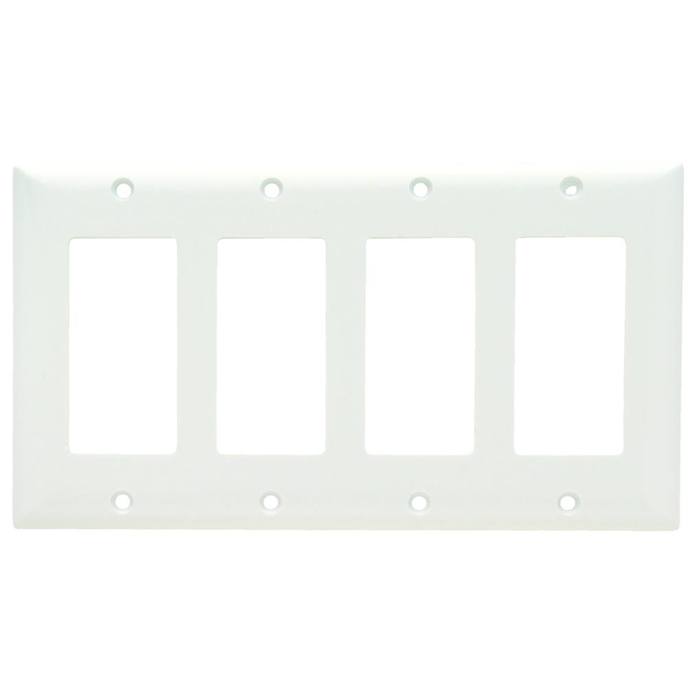 Pass & Seymour SP264-W 4Gang Wallplate, Decorator, White