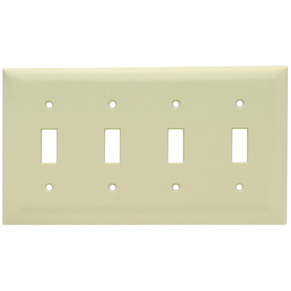 Pass & Seymour SP4-I 4Gang Wall Plate, 4-Toggle Switch, Standard - Ivory