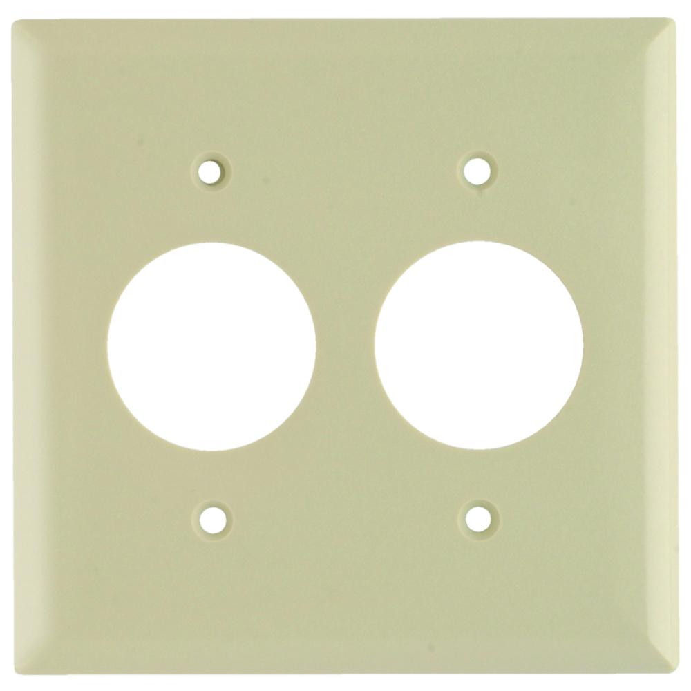Pass & Seymour SP72-I 2Gang Wall Plate, 2-Single Receptacles, Standard - Ivory