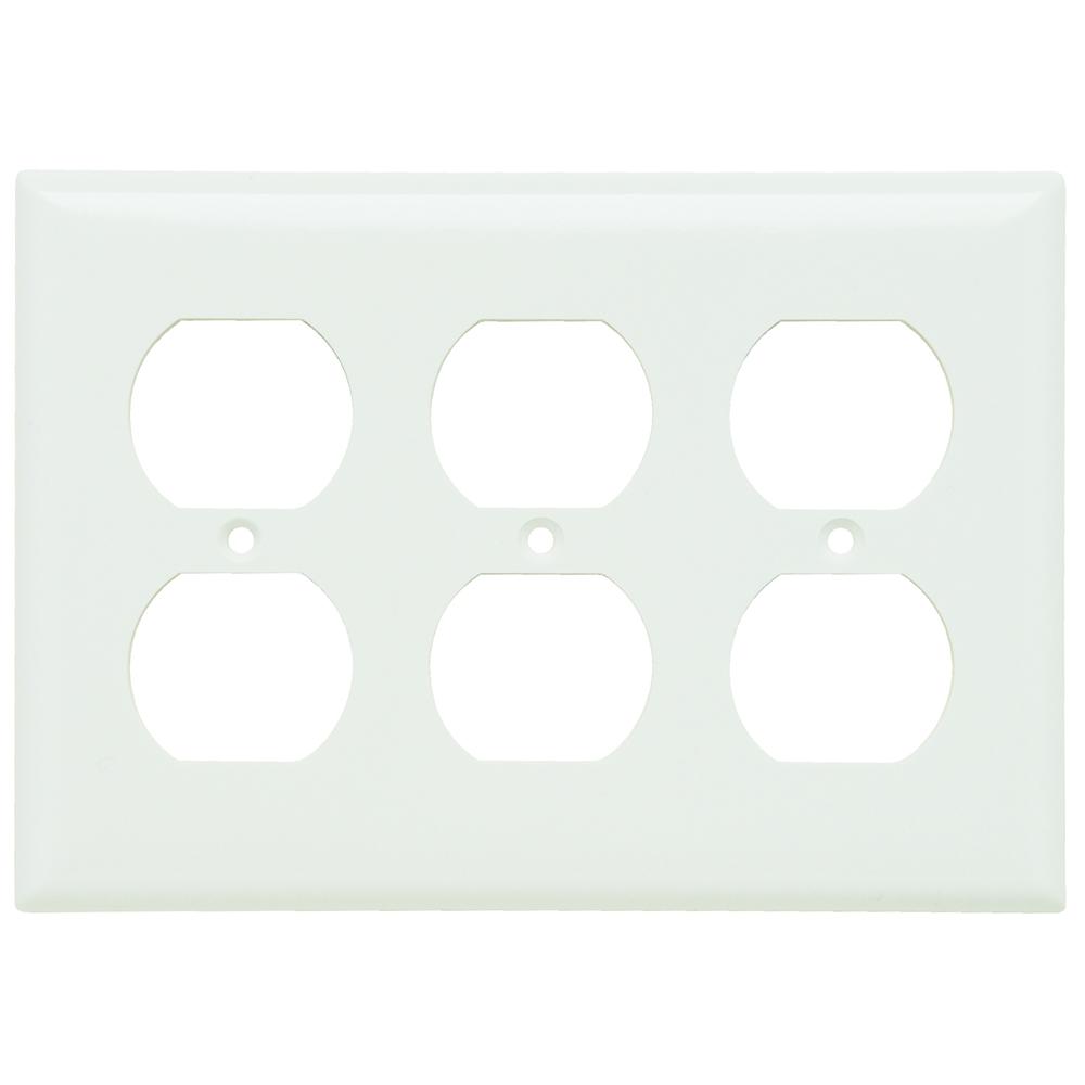 Pass & Seymour SP83-W 3-Gang 3-Duplex White Smooth Thermoset Plastic Standard Wallplate