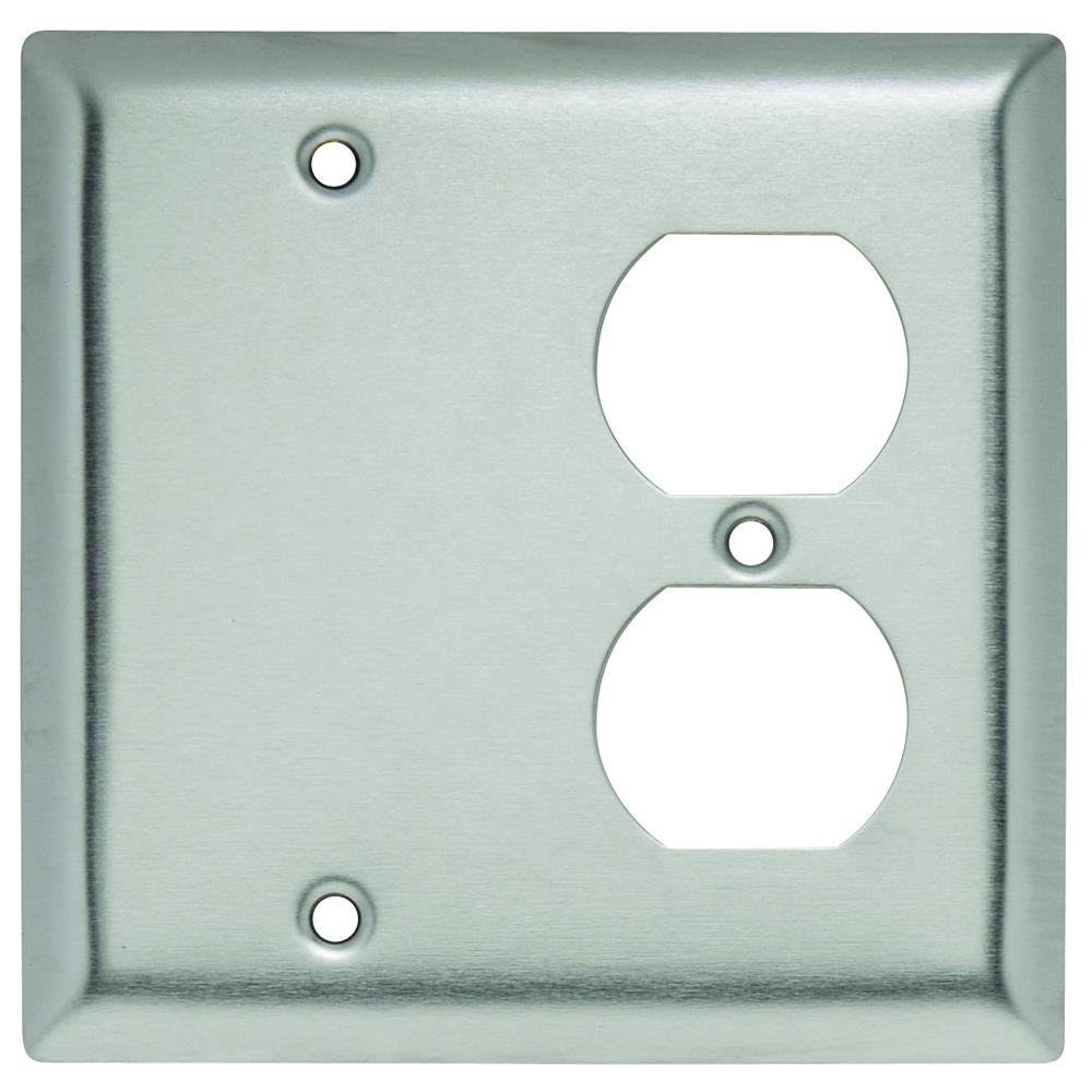 Pass & Seymour SS138 Smooth Metal Wall Plate 1Gangblank 1Gang Duplex 302 Stainless Steel