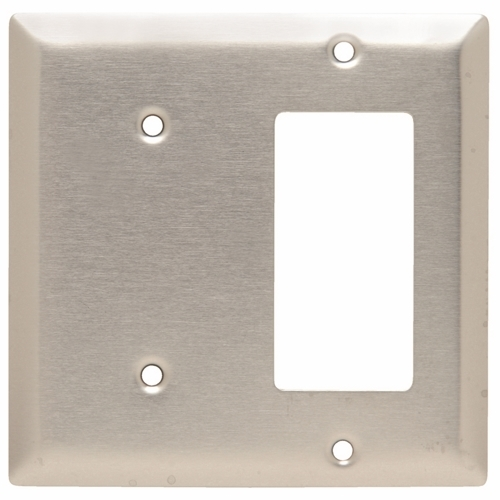 Pass & Seymour SS1426 2Gang Wall Plate, Blank / Decorator, Standard - 302/304 Stainless Steel