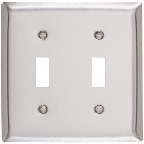 P&S SS2 2G SMOOTH STN-STL SWITCH PLATE