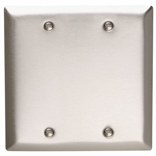 Pass & Seymour SS23 Smooth Metal Wall Plate 2Gang Blank Box Mounted 302 Stainless Steel