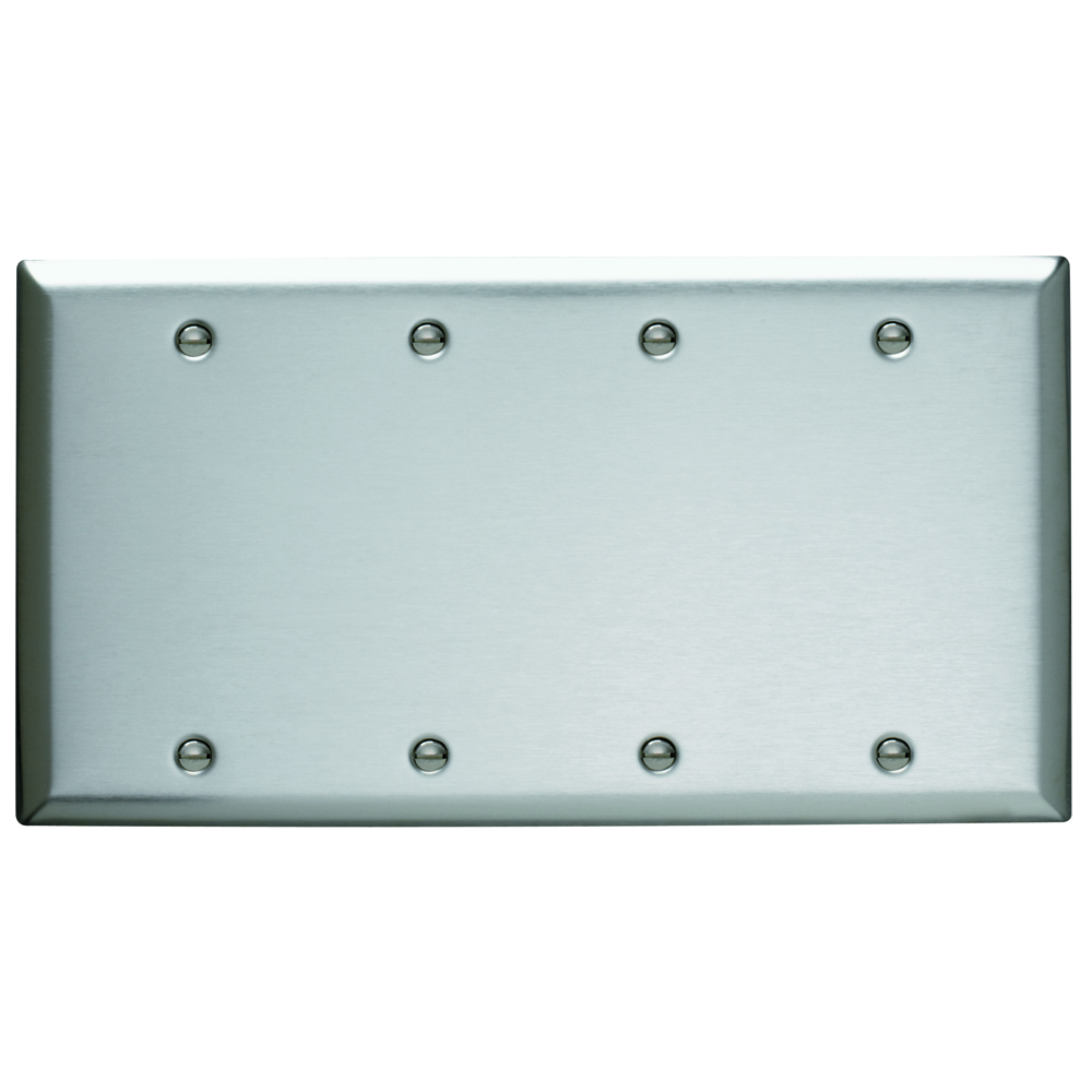 Pass & Seymour SS43 Smooth Metal Wall Plate 4Gang Blank Box Mounted 302 Stainless Steel