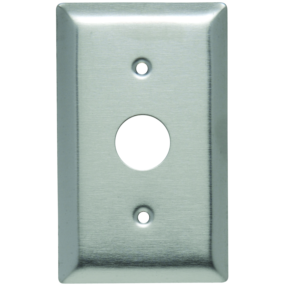 "Pass & Seymour SS730 1Gang Wall Plate, Phone/Cable, 5/8"" Hole, Standard - Stainless Steel"