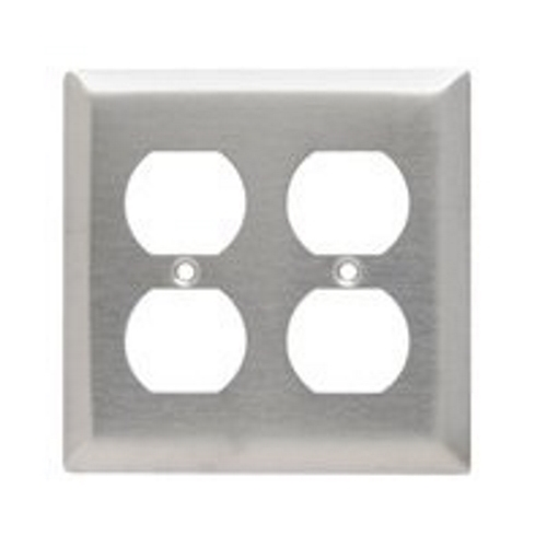 Pass & Seymour SS82 Smooth Metal Wall Plate, 2Gang Duplex, 302 Stainless Steel